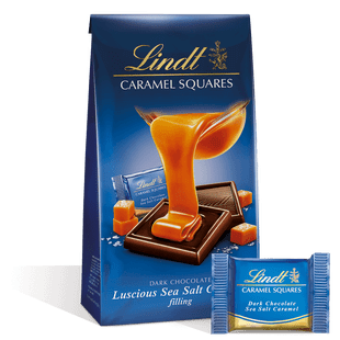 Lindt Dark Chocolate Sea Salt Caramel Squares 124g