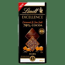Lindt EXCELLENCE 70% Cocoa Caramel & Sea Salt 100g