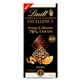 Lindt EXCELLENCE 70% Cocoa Orange & Almonds 100g