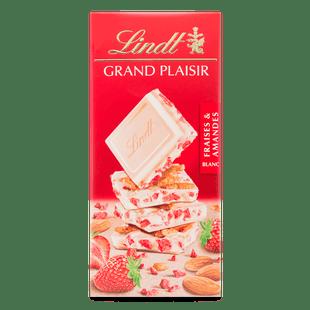 Lindt GRAND PLAISIR White Almond Strawberry Block 150g